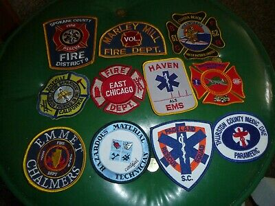 Lot Of 11 Fire Department Volunteer Fire Department Rescue Patches-Great Mix