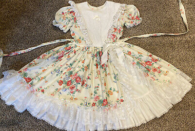 BEAUTIFUL vintage Girls Dress size 12 ruffle lace floral Pageant Party Layers