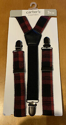 Carters Boys Red Plaid Suspenders Age 3 & Up NWT (O)