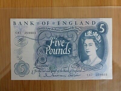 1963 Unc Bank of England Five Pound banknote