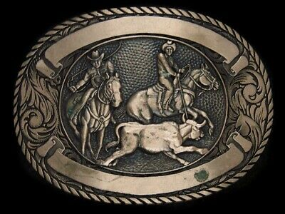 TH07130 VINTAGE 1980s **BULLDOGGING** RODEO WESTERN & COWBOY SOLID BRASS BUCKLE