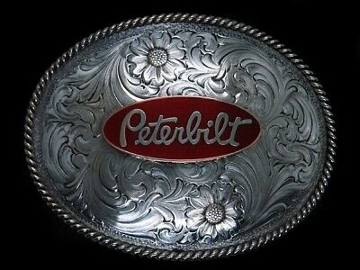 TH07161 VINTAGE 1970s **PETERBILT** TRUCK COMPANY SILVER PLATED BELT BUCKLE