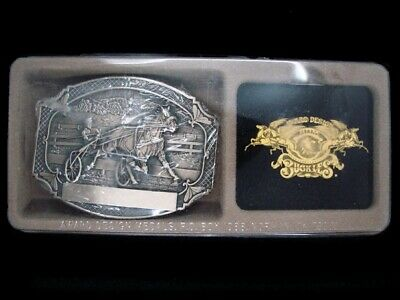TH07152 *NOS* VINTAGE 1980s **HARNESS RACING** SOLID BRASS BELT BUCKLE