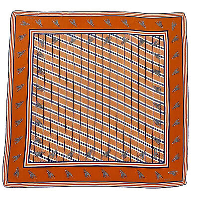 GUCCI GIRAFFE STRIPES ORANGE LARGE Silk Scarf 32 Inches