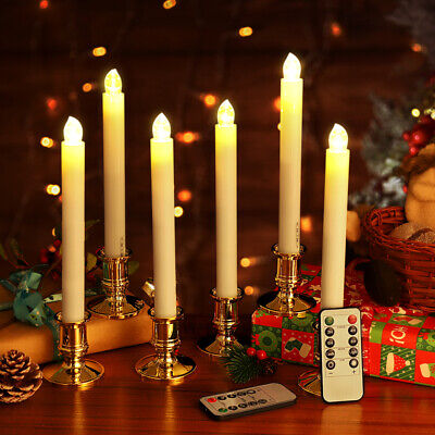 6X LED Wireless Flickering Taper Candles Clips Battery Remote Control Lights USA
