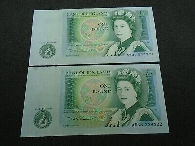 Bank of England SOMERSET UNC One Pound 2x £1 Banknotes  Consecutive Numbers AW33