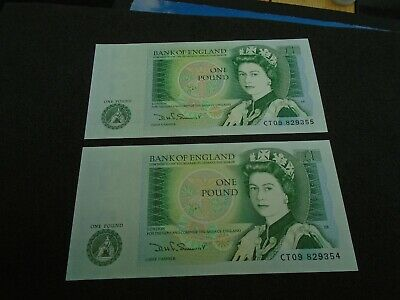 Bank of England SOMERSET UNC One Pound 2x £1 Banknotes  Consecutive Number CT098