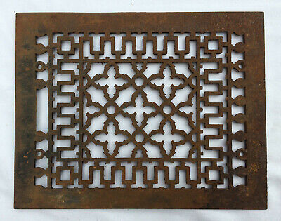 Vintage Cast Iron Ornate Floor or Wall Heat Grate Rusty Antique Salvage