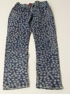 Girls M&S Age 6-7 Years Blue & White Adjustable Waist Super Skinny Denim Jeans