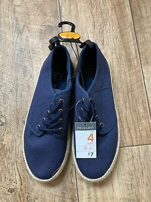 Brand New Primark Boys Navy Canvas Lace-up Pumps Size 4