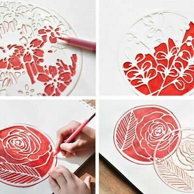 Stationery Painting Template Flower Pattern Plastic Stencils Hollow Ruler
