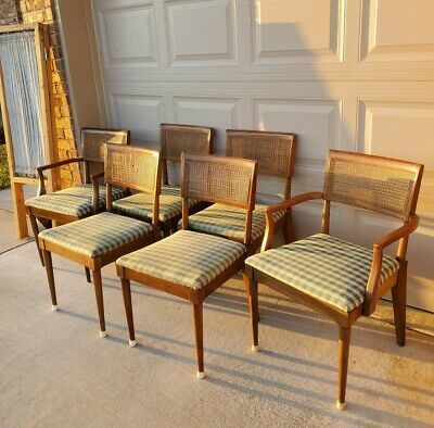 Set Of 6 Vintage Mid Century Modern Walnut Curved Cane Back Dining Chairs 300 00 Picclick