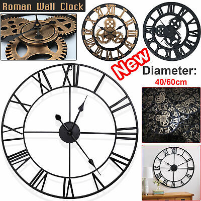 40/60Cm Large Outdoor Garden Big Roman Numerals Wall Clock Giant Open Face Round