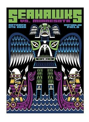 Limited Edition Seattle Seahawks Gameday Poster Vs Minnesota Vikings 2020 150 00 Picclick