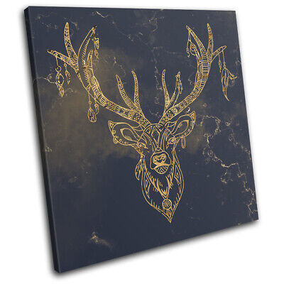 Colourful Stag Wall Art Printed Canvas Stretched Over A Solid Pine Frame