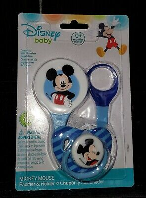 Vintage 1996 Evenflo Disney Babies Mickey Mouse Blue Pacifier Clip On Holder NOS