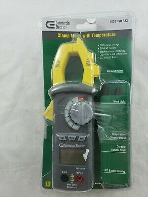 Commercial Electric Clamp Meter with Temperature 600V AC/DC Voltage