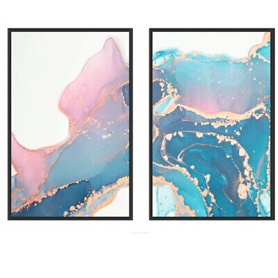 A3//A4 Set of 2 Abstract Posters Marble Prints Wall Decor Gold Green Geometric