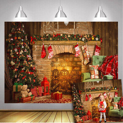 OUYIDA Christmas Wooden Wall Fireplace Backdrop Christmas Tree Photography Background Santa Gifts Decorations Wooden Floor Background for Kids Portrait Photo Studio Booth Props 7x5FT CEM27