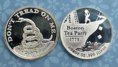 Don/'t Tread On Me Independent Living 1 oz Silver Round Boston Tea Party 1773