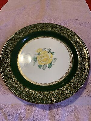Homer Laughlin Lady Greenbrier Dinner Plates Set of 3 Yellow Rose Green Band 22KT Gold USA