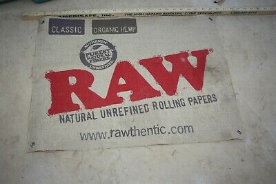 Classic Hemp RAW rolling paper advertising hanging sign on burlap - 24 by 18