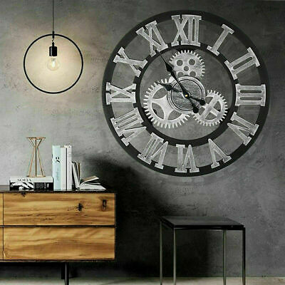 Extra Large Roman Numerals Skeleton 60Cm Wall Clock Big Giant Open Face Round