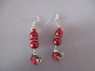 Robin Red Breast Xmas Silver coloured dangle earrings with small Bird Winter