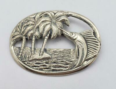 bp3025 925 sterling silver vintage etched swaying palm trees brooch pin