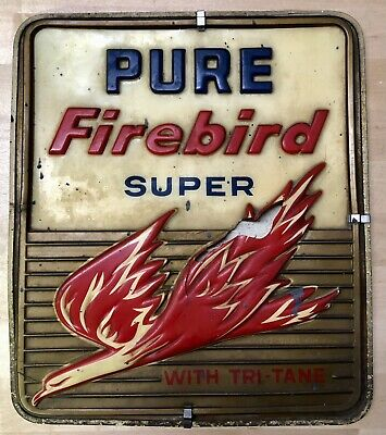 Vintage 1950 Pure Firebird Super Gasoline Tri-Tane Motor Oil 12x14 Gas Pump Sign