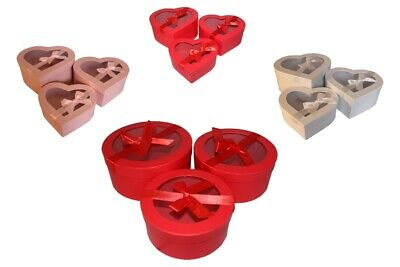 Florist Flower Storage Boxes Set Of 3 Round, Heart Gift  Bouquets with glazing