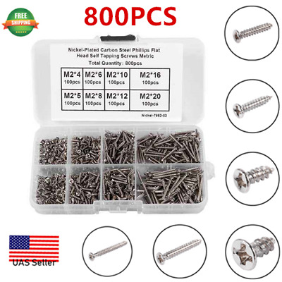800pcs Stainless Steel Self Tapping Tapping Screws Assortment Kit M2*4mm-20mm