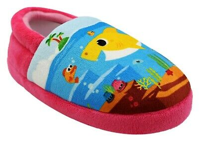 7-8 or 9-10 NWT 5-6 BABY SHARK PINKFONG Plush Slippers House Shoes Toddlers Sz