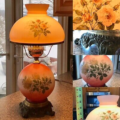 Vintage Gone with the Wind Lamp ~ Hurricane and Globe ~ White Brown Yellow Orange ~ Electric
