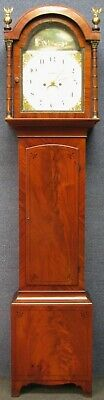 Georgian 8 Day Mahogany Longcase Grandfather Clock With Painted Arch Top Dial