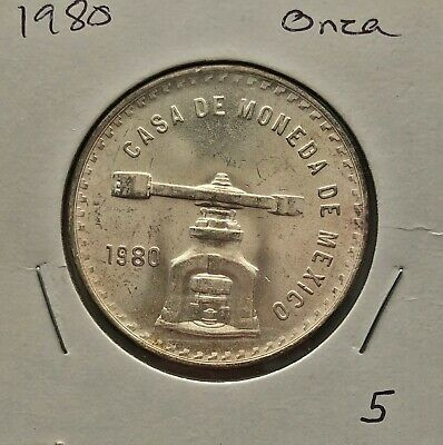 1980 Plata Pura Una Onza Casa De Moneda Brilliant Uncirculated
