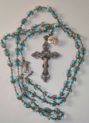 Vintage Chapel Sterling Silver Crystal Beads Crucifix Cross Mary Rosary Necklace