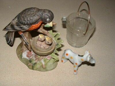 Vintage Robin In Nest Figurine,Collectible Lot With Horse,Glass Buckett-Low Bin