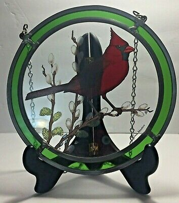 SOLD Vintage Stained Glass Bird Hanging Panel 1970/'s
