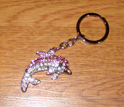 Jumping Dolphin Stainless Steel Keychain (1457P) Australian Crystals