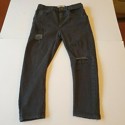 Zara Boys Collection Grey Skinny Jeans Distressed Embroidered Age 6 Excellent
