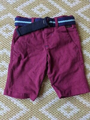 Ted Baker 18-24m Boys Jeans Shorts Dark Pink with belt BNWOT