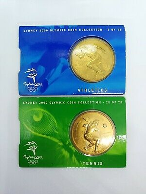 Olympic Sydney 2000 5 Dollar Coin Athletics # 1 of 28 and Tennis # 28 of 28