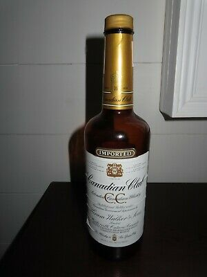Vintage 1983 Imported Canadian Club Blended Whiskey Glass Empty Bottle