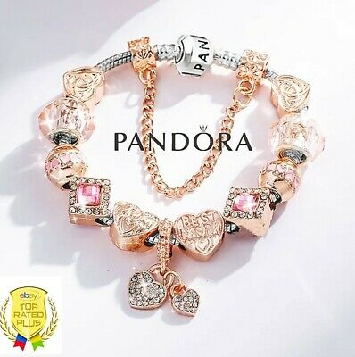 Authentic Pandora Bracelet Silver Love Wife Mom with Rose Gold European Charms
