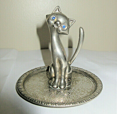 Sitting Kitty Cat Vintage Ring Tree GB EP Zinc Alloy Silver Stamped Permanetly Attached to Decorative Tray Jewelry Tray Holder
