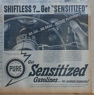 Large 1953 newspaper ad for Pure Oil Co - Shiftless? Get Sensitized, No Lag Drag