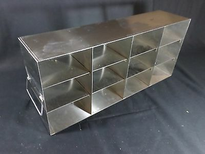 "Laboratory Stainless Steel 12-Position 3"" Standard Box Freezer Rack 22"" Deep"