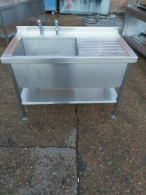 Commercial stainless steel single bowl sink with taps heavy duty 120x65x90 cm