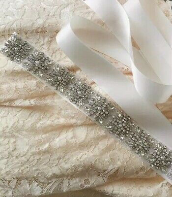 Crystal Beaded ✨Pearl &Beads Belt Wedding 💍 Off White Satin Bridal Accessory